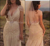 High Quality Wedding Dress 2014 V neck Crystal Mermaid Beaded Tulle Vintage Bridal Gown