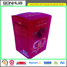 Wholesale red China brand 3D display customized design offset printing folding clear plastic wine bottle box for happy wedding