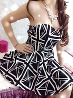 Hot selling Woman Summer dress Fashion Punk One-piece Dresses Bra chest wrapped irregular hem dresses SV004915
