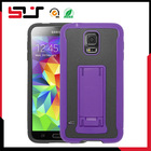 Hybrid wholesale hard pc compact shockproof kickstand case for samsung galaxy s5