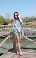 padrão de girassol malásia batik vestido kaftans para a praia