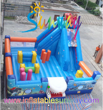 newly huge inflatable combo bouncy slide, inflatable obstacles for sale or playing