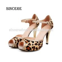 Leopard Hair Upper Leather Modern Design Women Pump Sandal Shoes