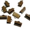 10x7mm length/width hole 1.3mm Brass Antique Bronze Ribbon End Clamps for Necklaces / Bracelets
