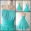 2014 New Design Spaghetti Strap Vintage Aqua Blue Chiffon Cocktail Dress