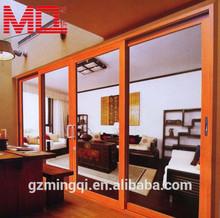 Heat-insulating powder coated aluminum sliding door wooden color