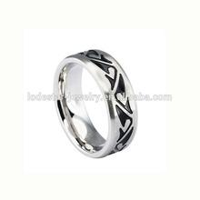 Black engraved enamel factory cheap price 316l stainless steel fashion full finger rings cheap full finger ring for mens LR7440