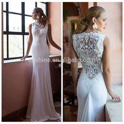 YWD11218 Fantasy Sleeveless Transparent Back Sexy Beach Wedding Dress Online Shop