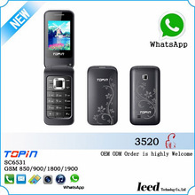 Alibaba expert low end H3580 quad band GSM dual sim card FM rddio music Mini flip mobile phone,cell phone,telefon