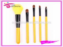 top quality 5pcs bright yellow makeup brush set beauty needs
