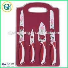 Rose printing 4pcs Non-stick coated kitchen knife set