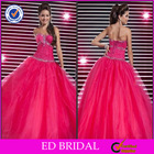 Beautiful Organza Ball Gown Indian Red Wedding Party Dress