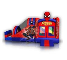attraction!!! inflatable red spiderman combo slide for kids inflatable