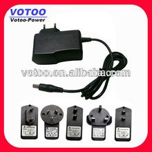 Wall mount 7.2w ac adaptor 12v 600ma power supply with UL EU UK SAA plug