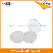 cosmetic compact empty plastic white powder case