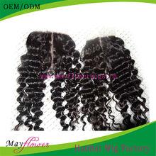 brazilian hair closure hidden knots deep wave with middle part lace closure
