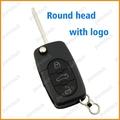 3 botones clave cubre para el coche vw remoto flip clave espacios en blanco dijes cr2032 batería titular