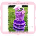 de alta calidad nuevo diseño de vestido de noche con mangas de encaje de color púrpura