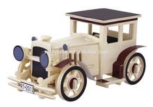 Wooden 3D classic car puzzle toy