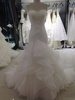 Organza Court Train with Jacket sheer white fabric wedding