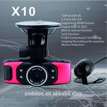 2014 DLS with G-sensor gps 1.5 inch TFT LCD night vision car dvr dual lens car dvr X10