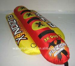 New design inflatable long tube water slide banana flying towable