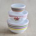 3 pcs de sopa de porcelana tigela conjunto com plastinc tampa