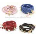 Multi moda encantos metal couro trançado pulseira, pulseira jóias atacado( dbr0045)