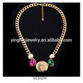 finto oro a catena lunga collana di perle testa di leone cammeo gioielli disegni
