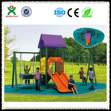 playground swings slides outdoor slide and swing playground plastic garden slide and swing made in china QX-102E
