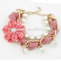 De metal de moda pulsera de cadena con la cinta de flores y perlas, pulsera de la joyería( dbr0057)