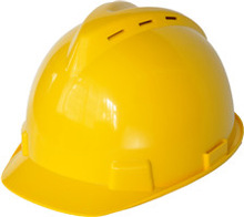 yellow HDPE shell safety helmet having 6 cooling vents