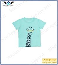 Summer children wear girls cartoon giraffe printed cotton t shirt
