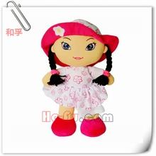De la felpa- de trapo- muñeca de moda muñeca de la muchacha con sombrero