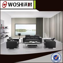 Italian style aluminum alloy base black Genuine leather sofa for sale