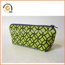 Small Canvas Zipper Pouch - Lime Green with Blue Geometric Pattern, Blue Zipper By Chiqun Dongguan CQ-H01035