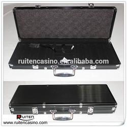 500ct Black Aluminum Poker Chip Case Round Coner Aluminum Poker Chip Case