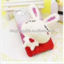 2014 Latest Wholesale Fashion 3D Rabbit rhinestone cell phone cover cute cellphone case