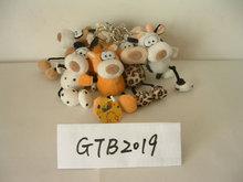 12cm promotional beautiful customized stuffed plush duck,bear,cow,monkey, dog,leopard wild animal keychain toy