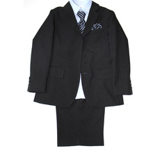 boys navy blue pin striped single breasted 4pcs dress suit