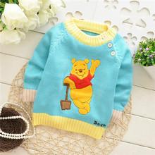 2014 de alta moda de bebé niño bebé vestido de géneros de punto jersey de punto jersey infantil de dibujos animados con el patrón de bordado