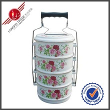 3 layer Full Flower Decal Enamel Food Carrier