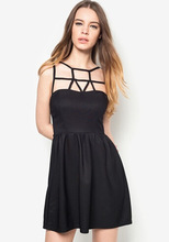 2014 New Black Cage Front Backless Ladies Dinner Dresses