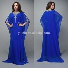 k2039 Neuankömmlinge chiffon langarm perlen marokkanischen kaftan kleid für frau abendkleid
