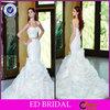 2015 Cheap Sweetheart Mermaid Pleated Organza White Wedding Dresses