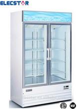double glass door display merchandiser , swing door refrigerator, cold showcase display refrigerators