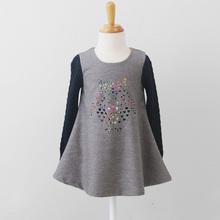 2 layers Autumn oufit, Knitted collar cotton dresses, Kids clothes wholesale Children Autumn cotton dress clothing