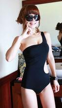 M40096E 2014 sexy tight fitting slim solid color single shoulder womens swimwear bikini