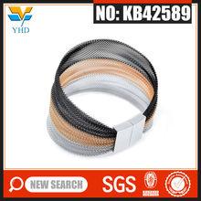 Multi color mens stainless steel linked opal magnetic bracelet