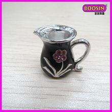 Promotion Enamel Flower Silver Tea/Wine Cup Charm Fashion Jewelry(1972)